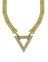 Lord And Taylor Cubic Zirconia Goldtone Sterling Silver Triangle Necklace