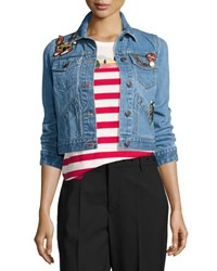 Marc Jacobs Shrunken Denim Jacket With Patches Blue