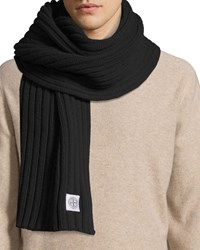 Stone Island Ribbed Wool Scarf Black
