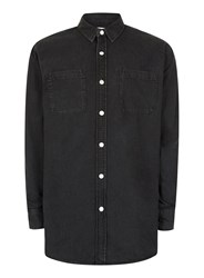 Topman Black Longline Casual Denim Shirt
