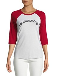 Design Lab Lord And Taylor The Brunch Club Baseball Tee White