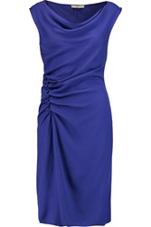 Halston Ruched Crepe Dress Purple
