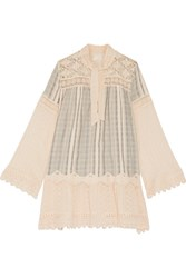 Anna Sui Lace Paneled Striped Cotton Gauze Mini Dress Cream