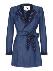 Yumi Anchor Wrap Trench Coat Blue