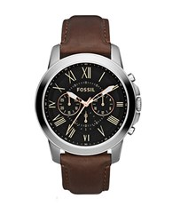 Fossil Mens Grant Silvertone And Leather Chronograph Watch Brown