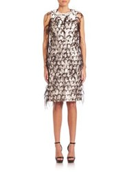 Michael Kors Ostrich Feather Embroidered Silk And Wool Shift Dress White