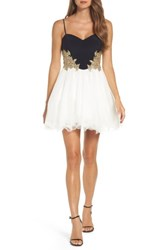 Blondie Nites Women's Colorblock Applique Skater Dress Navy Ivory Gold