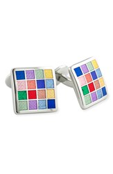 David Donahue Men's Sterling Silver Cuff Links Silver Multi
