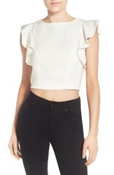 Women's Kendall Kylie Flutter Sleeve Crop Top White
