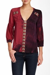 Gypsy05 Embroidered Contrast Trim Silk Blend Blouse