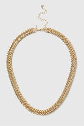 Topshop Flat Curb Chain Necklace Gold