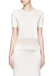 Victoria Beckham Cable Knit Trim Short Sleeve Top White