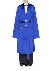 Cres. E Dim. 'Dreams' Oversized Patch Satin Trench Coat Blue