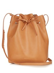 Mansur Gavriel Metallic Silver Lined Leather Bucket Bag Tan Multi