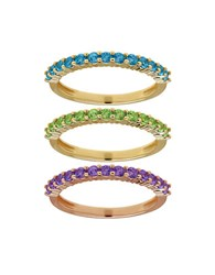 Lord And Taylor Semi Precious Multi Stone Stacking Ring Set