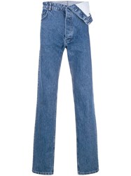 Y Project Foldover Straight Jeans Blue