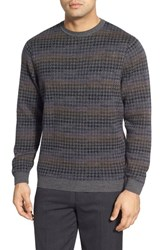 Men's Lenor Romano Houndstooth Stripe Crewneck Wool Sweater