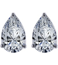 Carat Pear 0.75Ct Solitaire Stud Earrings White