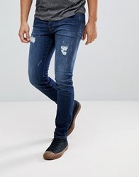 Selected Homme Skinny Jeans With Repairs Dark Blue