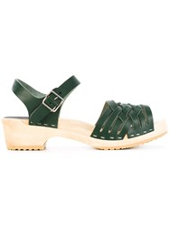 Swedish Hasbeens Braided Low Sandals Women Calf Leather Leather Rubber 37 Green