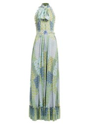 Luisa Beccaria Floral And Tile Print Tie Neck Gown Green Multi