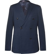 Etro Blue Slim Fit Double Breasted Cotton Blazer Blue
