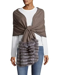 La Fiorentina Fox Fur Trimmed Wool And Cashmere Scarf Taupe