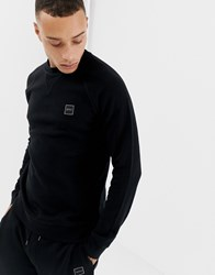 Boss Wyan Logo Crew Neck Sweat In Black