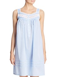 Eileen West Lace Trim Short Chemise Solid Stardust Chambray
