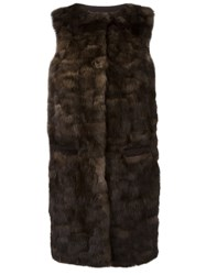 Liska 'Malvai' Sleeveless Fur Coat Brown