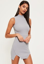 Missguided Grey High Neck Double Wrap Bodycon Dress