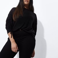 River Island Plus Black Ruched Sleeve Top