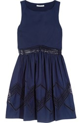 Rebecca Minkoff Tess Crochet Trimmed Cotton Mini Dress Storm Blue