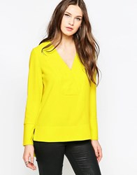 French Connection Arrow Crepe V Neck Tunic Acid Blonde Yellow