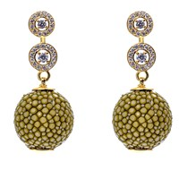 Latelita London Stingray Ball Earring With Zircon Kiwi Gold Green