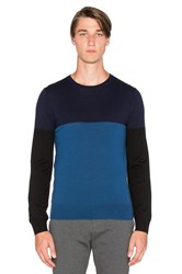 Atm Anthony Thomas Melillo Color Block Merino Crew Blue