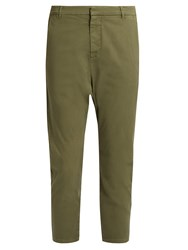 Nili Lotan Paris Stretch Cotton Trousers Khaki