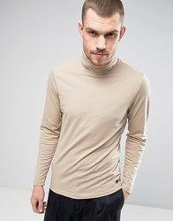 Casual Friday Long Sleeved Roll Neck T Shirt Beige