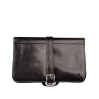 Maxwell Scott Bags Luxury Italian Leather Men's Hanging Toiletry Bag Pratello Black
