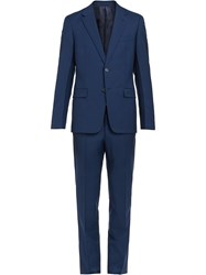 Prada Wool And Mohair Single Breasted Suit Blue