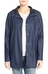 Women's Cole Haan Hooded Raincoat Navy