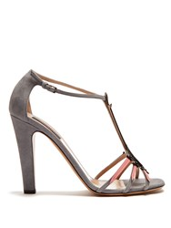 Valentino Love Blade Suede And Patent Leather Sandals Blue Multi