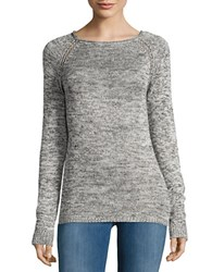 Design Lab Lord And Taylor Knit Roundneck Sweater Black White