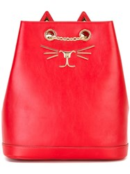 Charlotte Olympia 'Feline' Backpack Red
