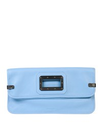 Tomas Maier Calfskin Fold Over Clutch Bag Sky Black Blue Black