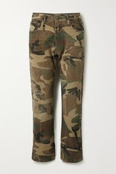 R 13 R13 Distressed Camouflage Print Mid Rise Straight Leg Jeans Beige