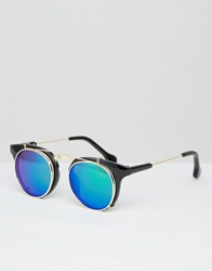 Jeepers Peepers Round Sunglasses With Green Lens Black