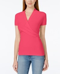Charter Club Short Sleeve Crossover Wrap Top Only At Macy's Crushed Peony
