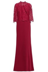 Reem Acra Woman Layered Lace And Crepe Gown Crimson