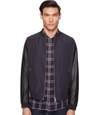 The Kooples Leather Sleeves Jacket Dark Navy
